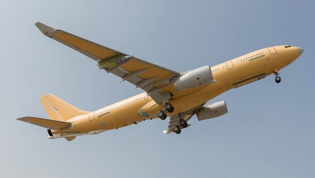 Airbus Defence and Space completed the maiden flight of the first A330 MRTT Multi Role Tanker Transport for France, last week.The aircraft, which will be known in French service as Phénix, is the first of nine ordered by the French Defence Procurement Agency DGA, plus another three expected to be confirmed. Photo: Pablo Cabellos / Airbus. Click to enlarge.