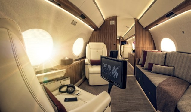 The luxurious interior of a Qatar Executive Gulstream G650ER