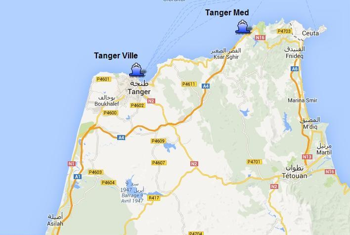 ports map of Tanger Ville and Tanger Med Ports