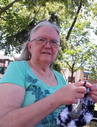 Mom knitting at WWKIP day 2017