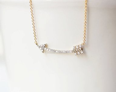 Gold Curved Arrow Necklace