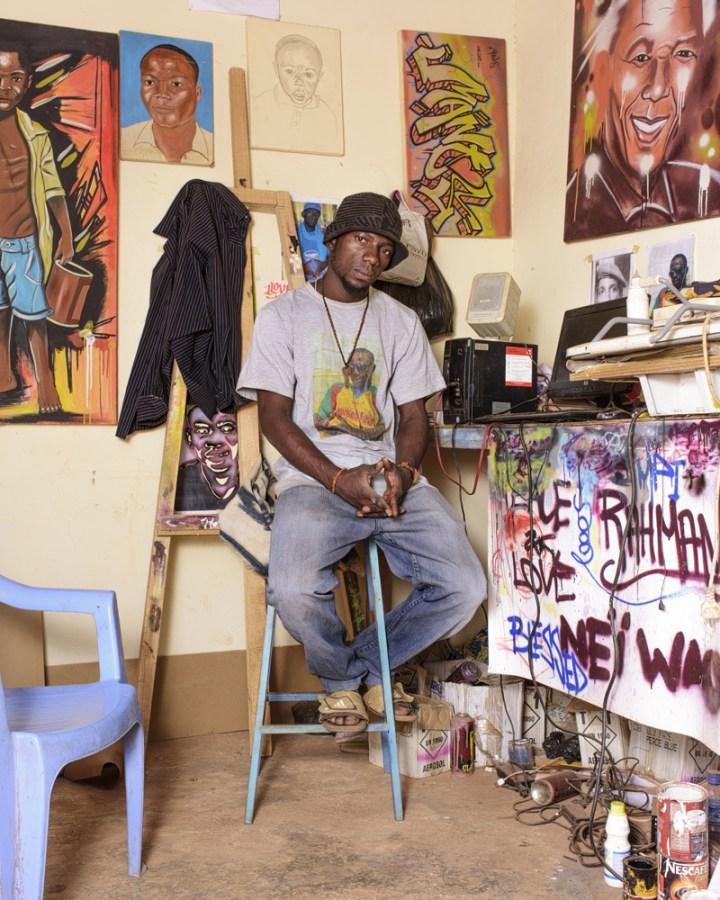 Graffitti artist Manoos in his studio
