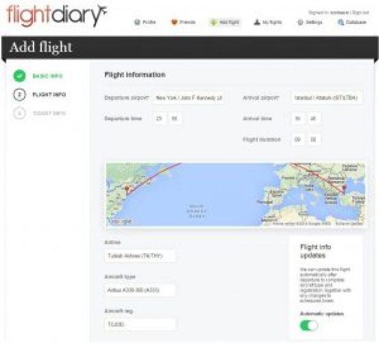 Flightdiary.net Uçuş Ekleme