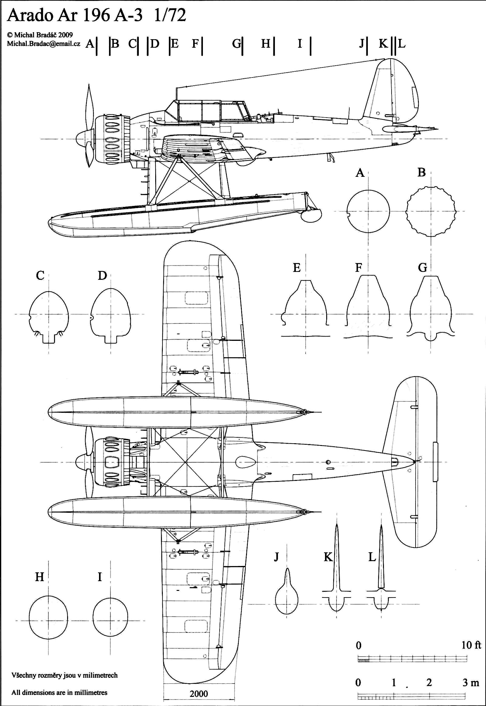 Aircraft Technical Drawing Of Arado Ar 196a3 In 1 72 Scale By Michal Bradac 0a
