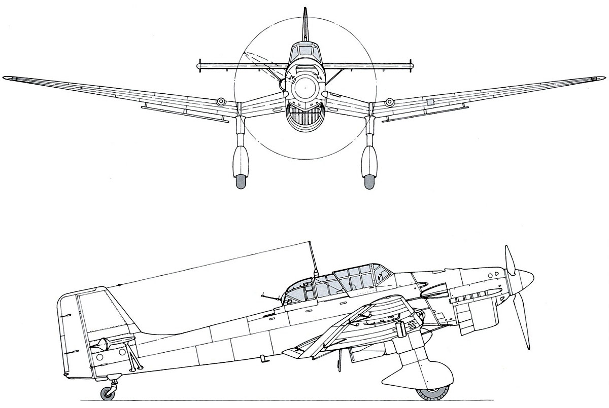 Asisbiz Diagram Of Junkers Ju 87b Stuka Side Profile View