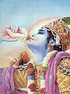 Krsna and Arjuna sounded their transcendental conchshells.