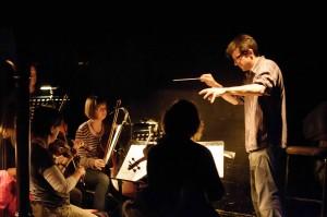 Jonathan Lyness rehearsing his arrangement of La Boheme