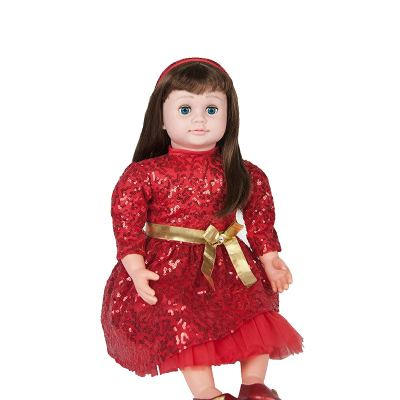 ask amy doll brunette red dress