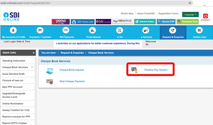 SBI Net Banking Positive Pay step 2