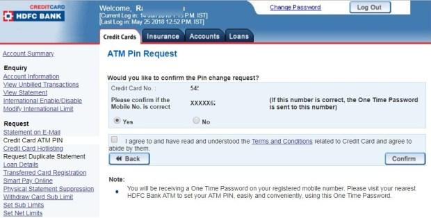 HDFC-Credit-card-PIN-reset