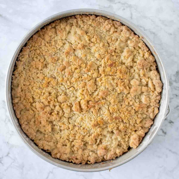 overhead view of baked caramel apple torte in a springform pan