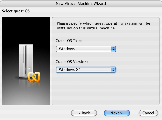 Parallels, New Virtual Machine Wizard, SPecifying a Guest OS