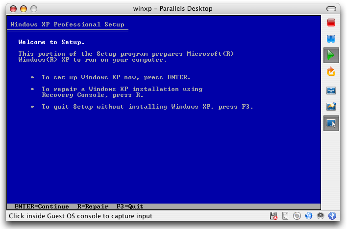 Parallels - Windows XP - Welcome to Setup