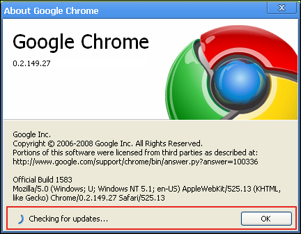 google chrome about checking