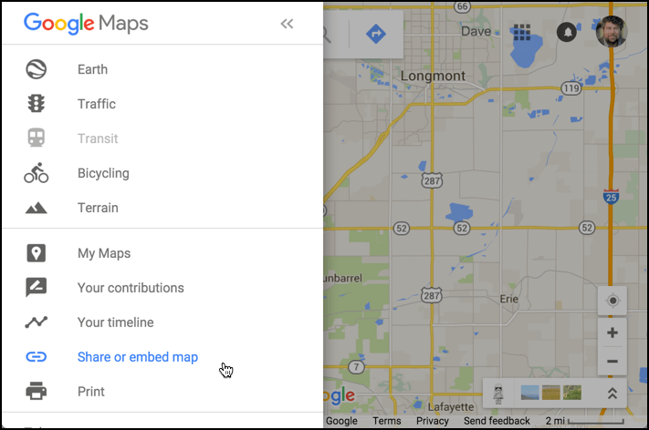 How to Embed a Live Google Map on your Web Page    Ask Dave Taylor google maps menu options   share or embed selected