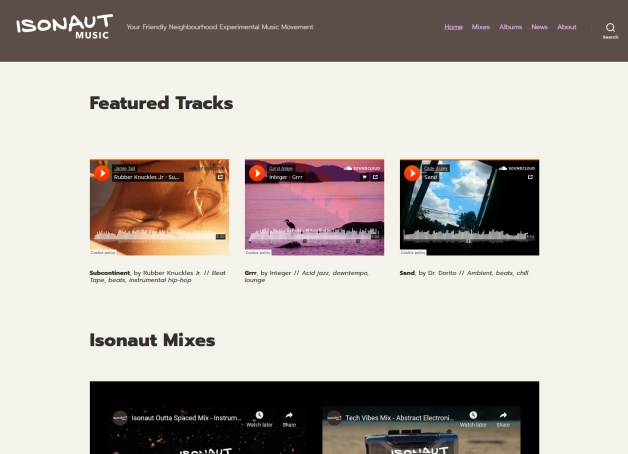 Showing the home page of Isonaut Music