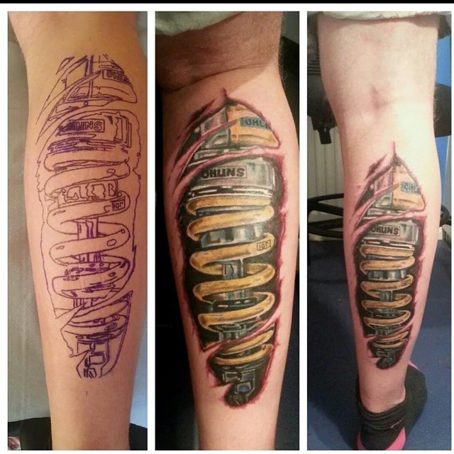Ohlins rear shock tattoo hobbiesxstyle for Shock absorber tattoo