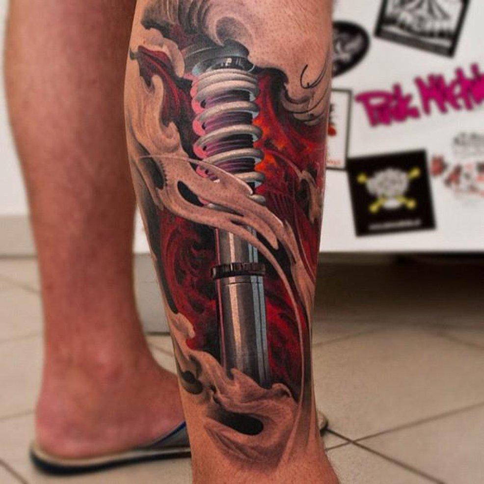 3d Shocker Tattoo On Right Leg