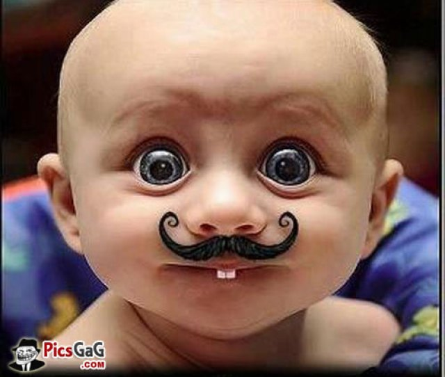Baby With Mustache Funny Picture