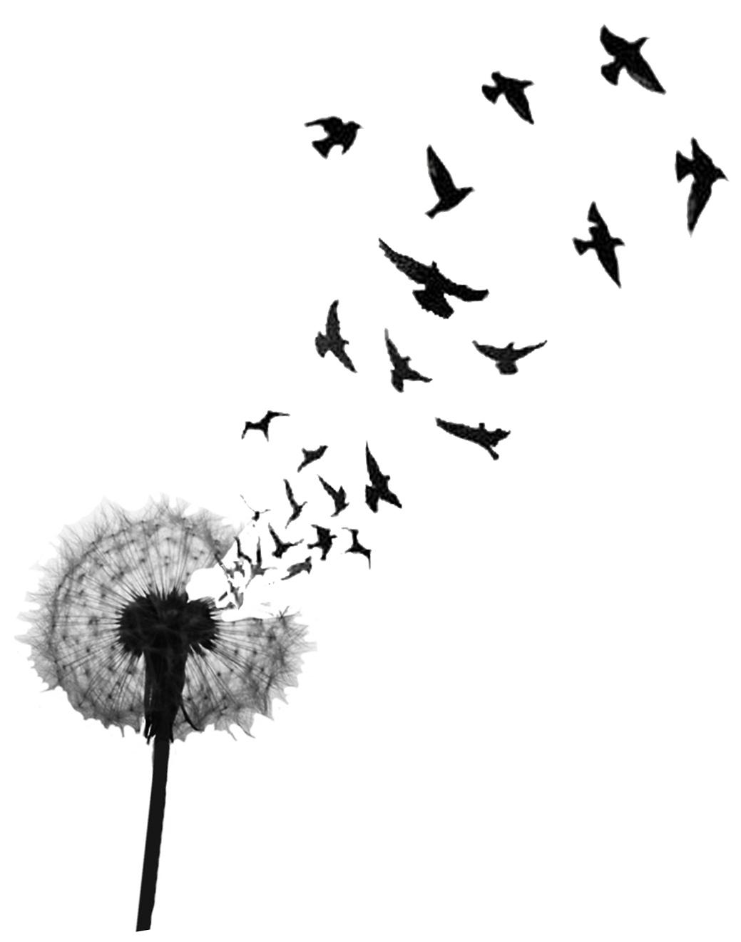 Birds Flying From Dandelion Tattoo Design Idea