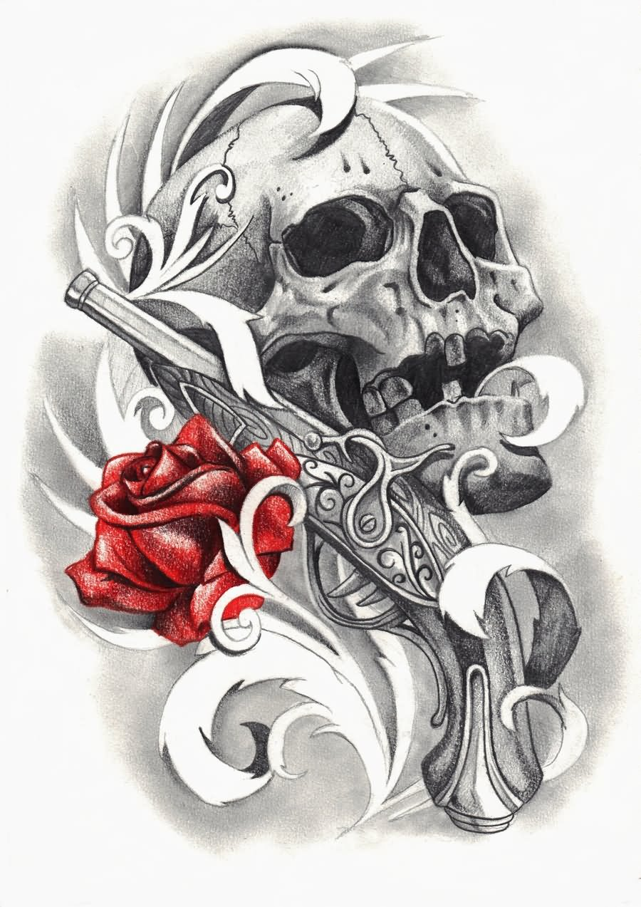 3d Pirate Skull With Red Rose Tattoo Design By Scribble