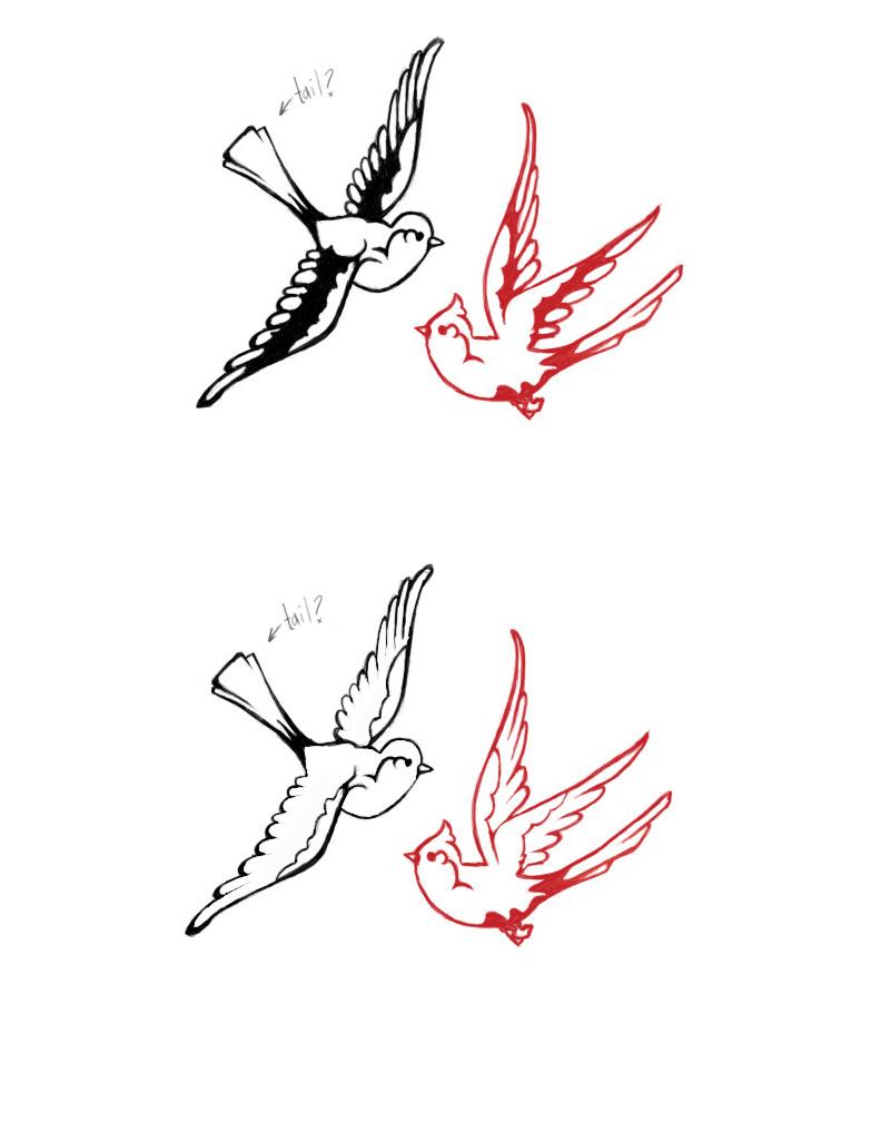 Dandelion Bird Tattoo Stencil