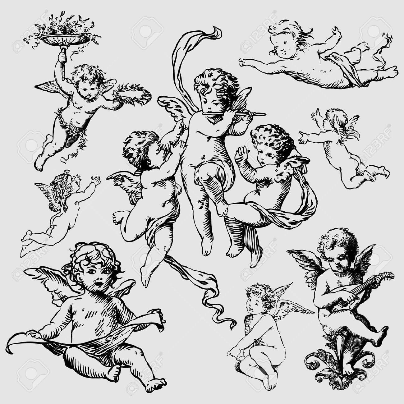 25 Cute Cupid Cherub Tattoo Designs
