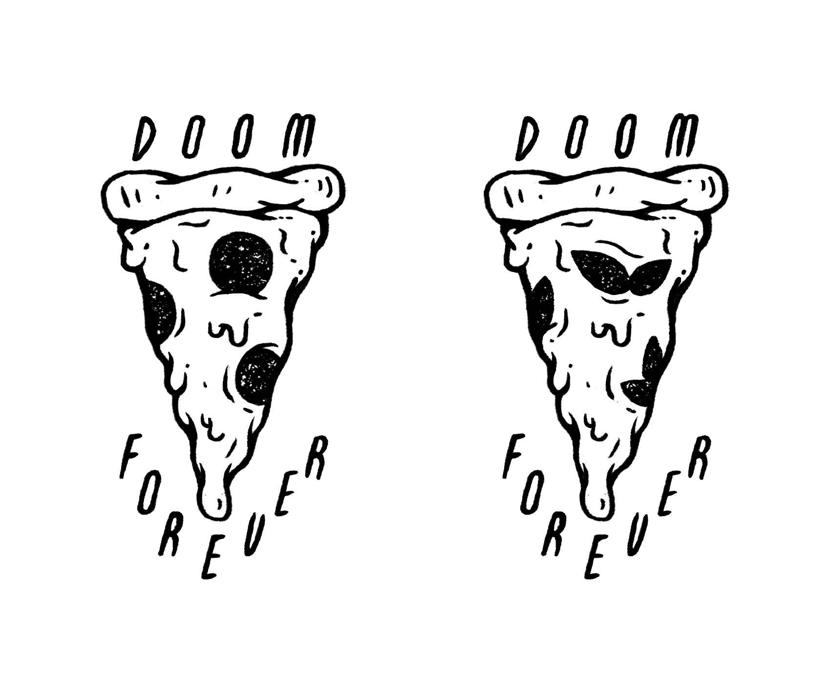 24 Black And White Pizza Tattoos