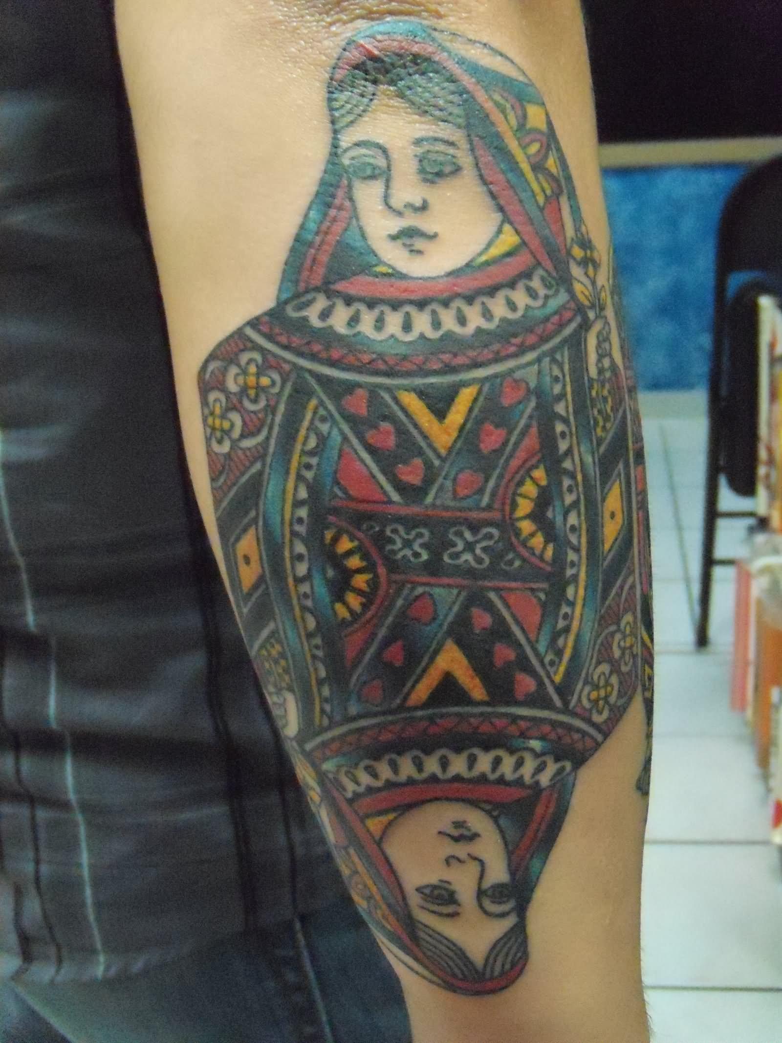 Hearts Queen Card Tattoo