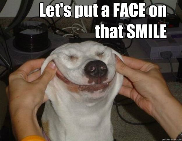 Dog being forced to smile