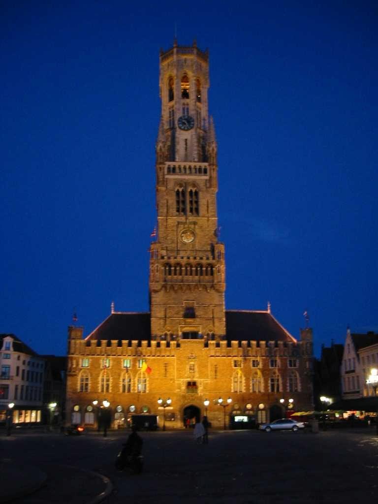 Belfry Belgium Glowing Bruges Night Images
