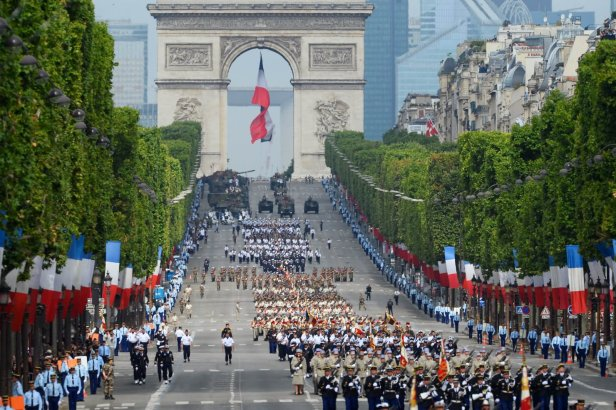 Beautiful View Of The Bastille Day Parade At The Arc de Triomphe In Paris