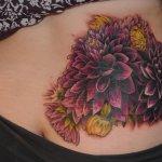 Dahlia Flowers Tattoo On Lower Back