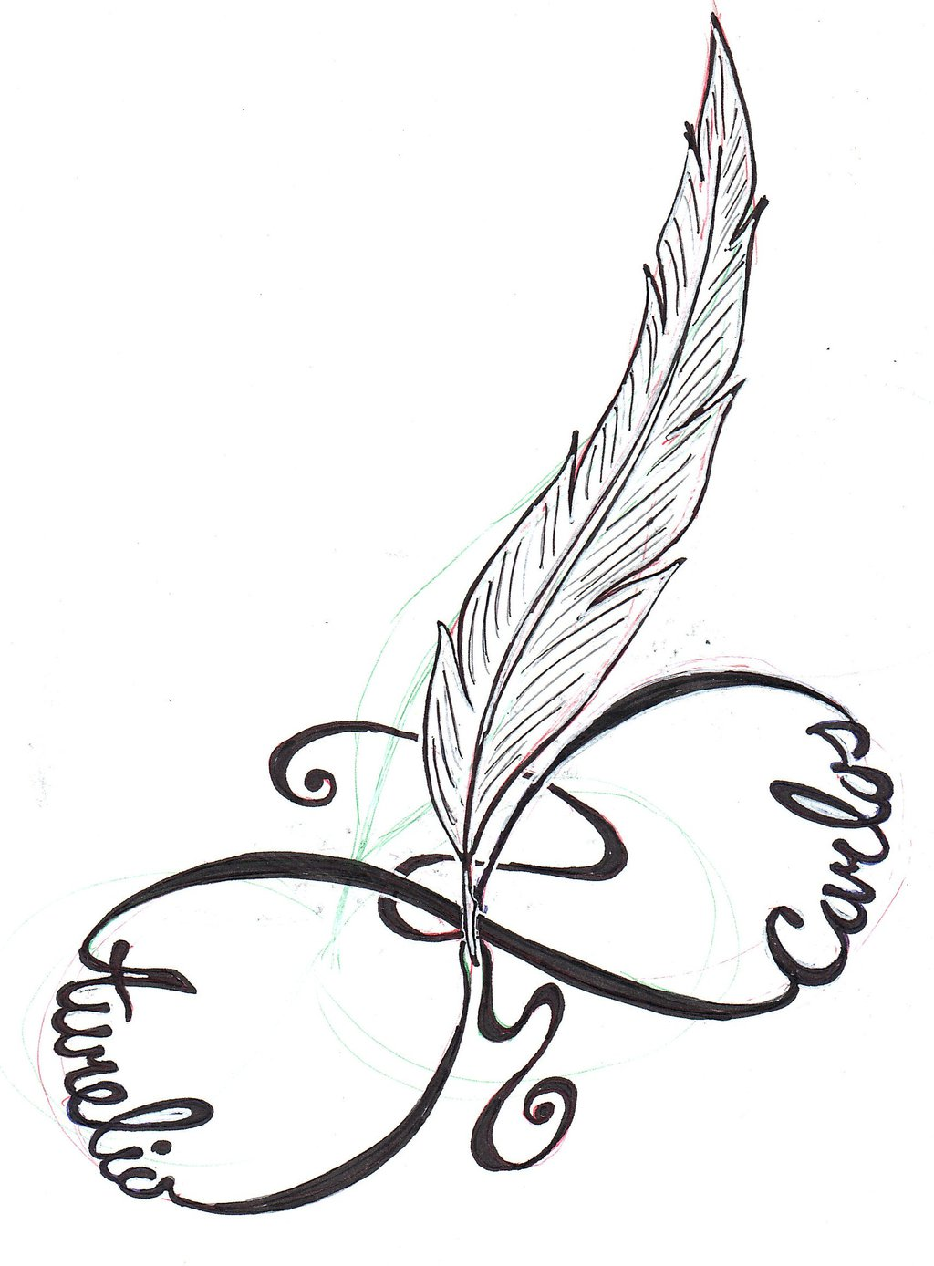 Infinity Symbol With Words Love Life And Feather Tattoo