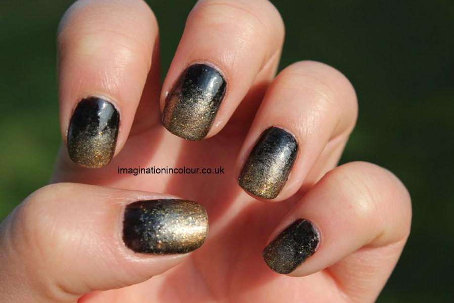 Golden And Black Ombre Nail Art Design