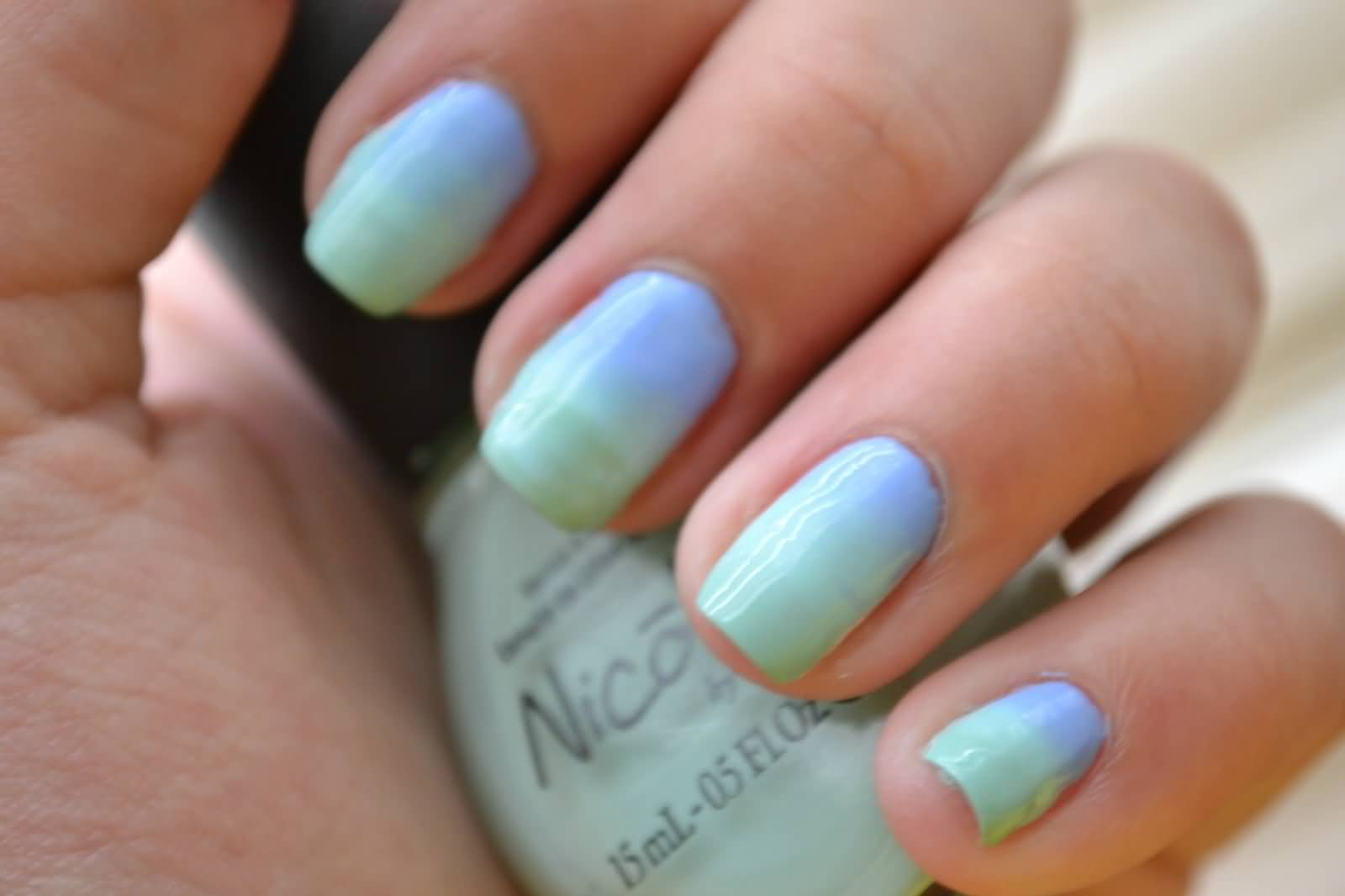 Green And Blue Ombre Nail Art