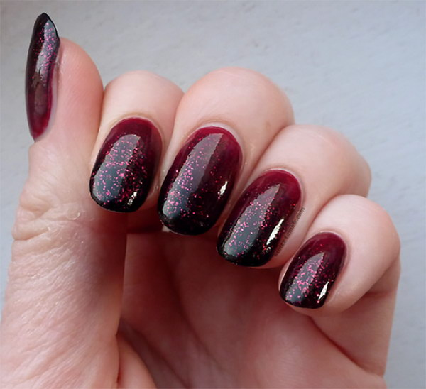 Red And Black Sparkle Gel Ombre Nail Art