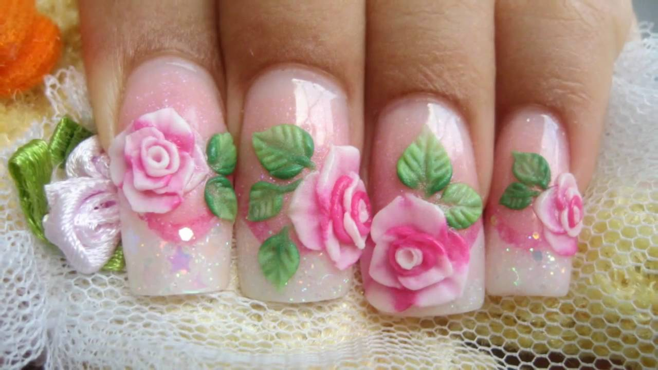3d Acrylic Roses Flower Nail Art Design