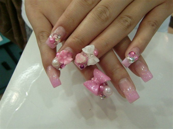 3d Bows And Flowers Nail Design