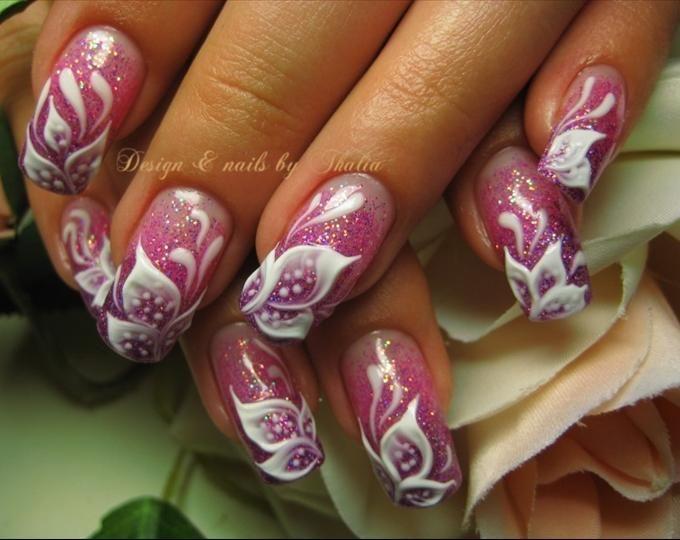 3d Gel Flower Nail Art Design