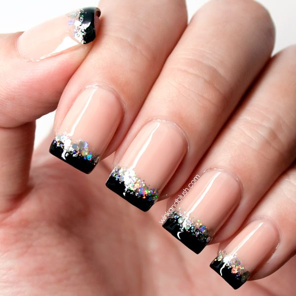 Black And Silver Glitter French Tip Nail Art