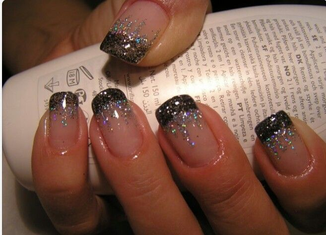 Black And Silver Glitter French Tip Nail Design Idea