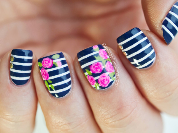 Black And White Stripes Nails With Pink Rose Flower Nail Art