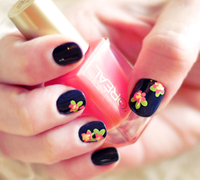 Black Glossy Nails With Flower Nail Art