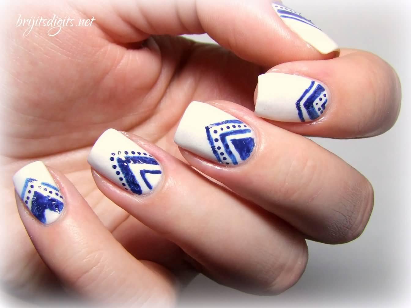 Blue Chevron Nail Art On White Nails