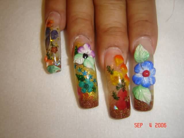 Colorful Glitter Nails With 3d Flowers Nail Design