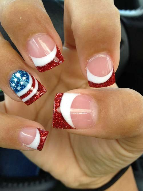 Fourth Of July Sparkle Gel Nail Art