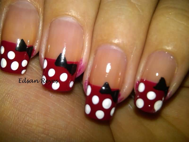 French Tip Polka Dots With Black Simple Bow Nail Art