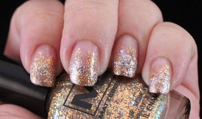 Nails With French Tip Glitter Nail Art