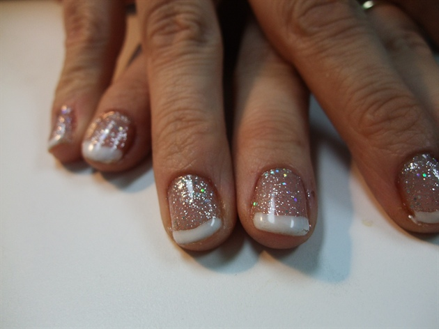 White French Tip Nail Art With Accent Glitter Flower Rhinestones